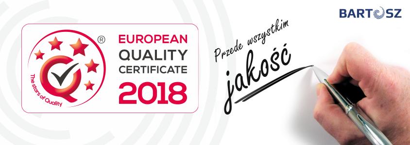Otrzymaliśmy European Quality Certificate 2018!